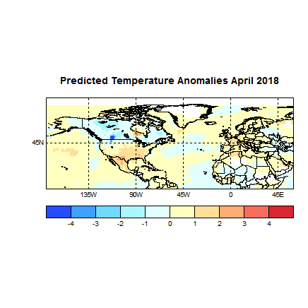 Prognose April 2018 Temperatur Europa und Amerila Bild