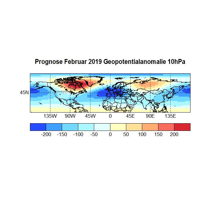 Prognose Februar 2019 Geopot 10hPa neu