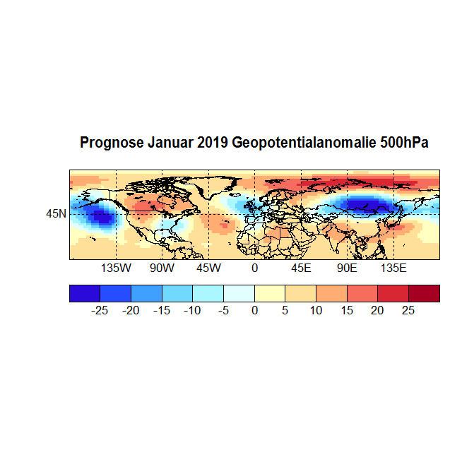 Prognose Januar 2019 Geopot 500hPa