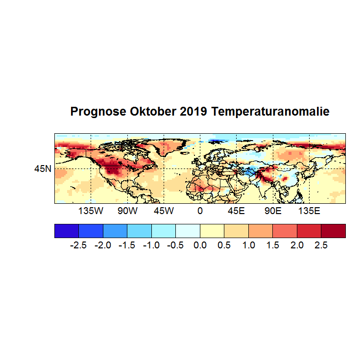 Prognose Oktober 2019 Temperatur NH Bild aus Juli