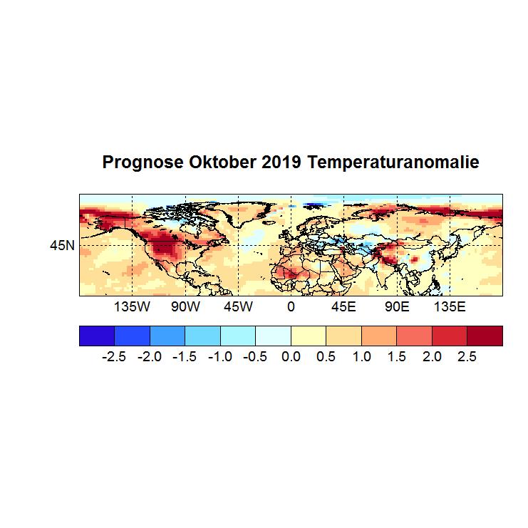 Prognose Oktober 2019 Temperatur NH Bild aus Sept