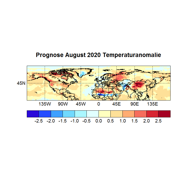 Prognose August 2020 Temperatur NH aus Juni