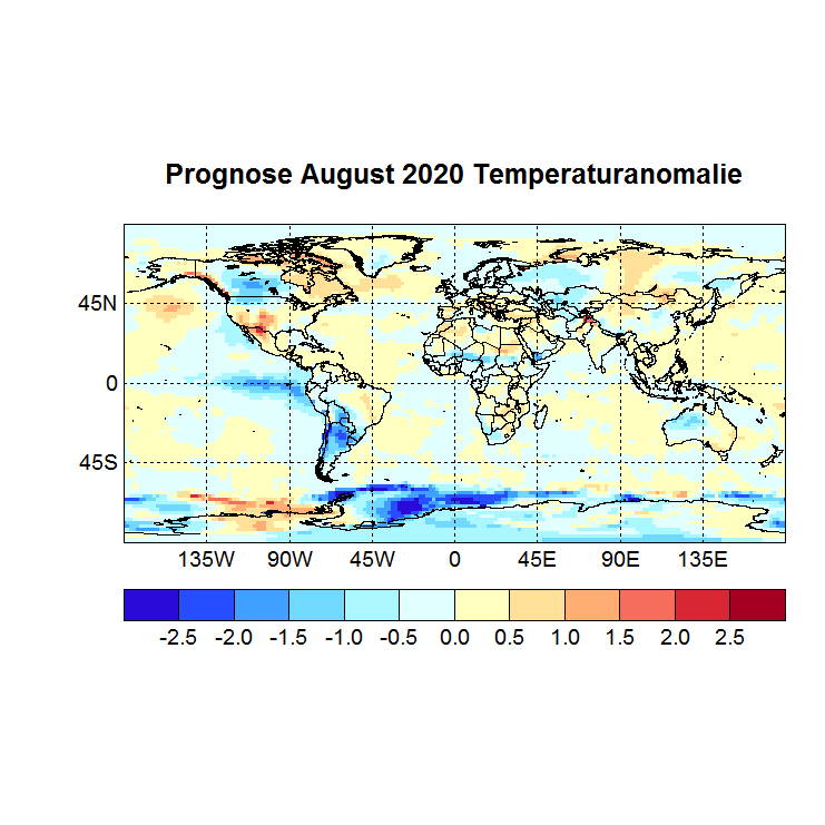 Prognose August 2020 Temperatur global Bild aus Juli